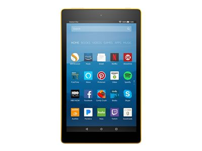"""Amazon Kindle Fire HD 8 - Tablet - 16 GB - 8"""" IPS (1280 x 800) - microSD slot - canary yellow - with Special Offers"""