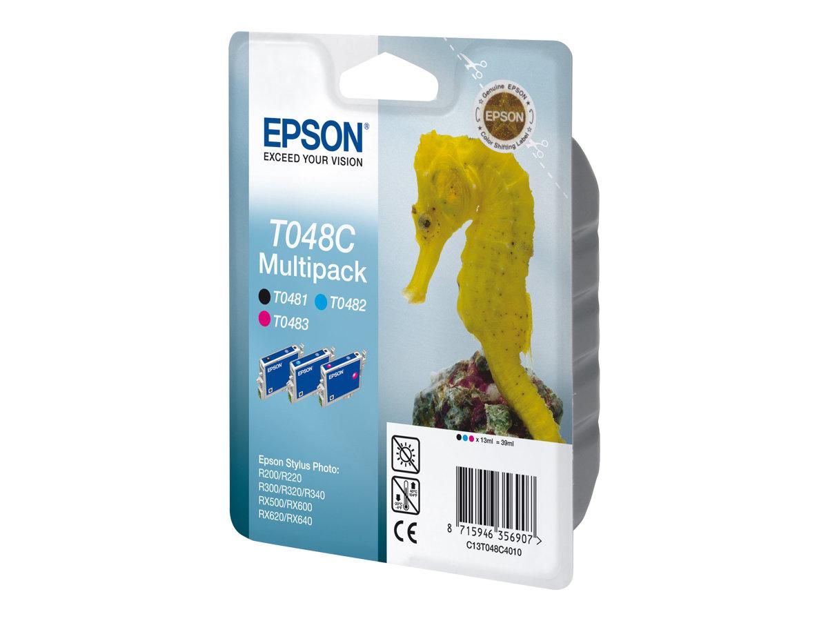 Epson T048 Multipack - pack de 3 - noir, cyan, magenta - originale - cartouche d'encre