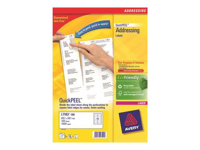 Image of Avery QuickPEEL Recycled Labels - permanent adhesive address labels - 1400 label(s)