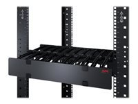 APC Horizontal Cable Manager Single-Sided with Cover - Rack cable management panel with cover - black - 2U - for P/N: SCL400RMJ1U, SCL500RMI1UC, SCL500RMI1UNC, SMTL1000RMI2UC, SMTL750RMI2UC