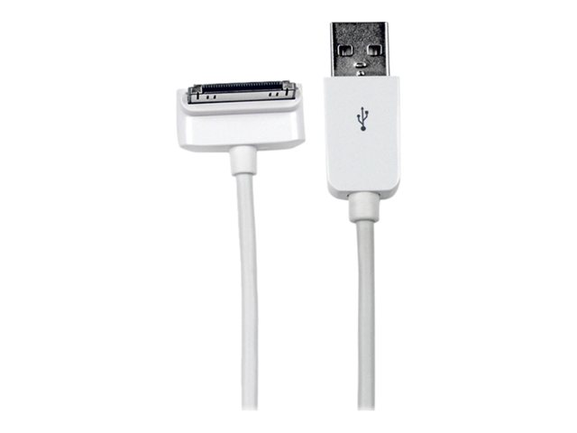 Image of StarTech.com 2m Down Angle Apple 30-pin Dock to USB Cable iPhone iPod iPad - iPad / iPhone / iPod charging / data cable - USB - 2 m