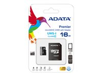 ADATA Premier UHS-I - Flash memory card (microSDHC to SD adapter included) - 16 GB