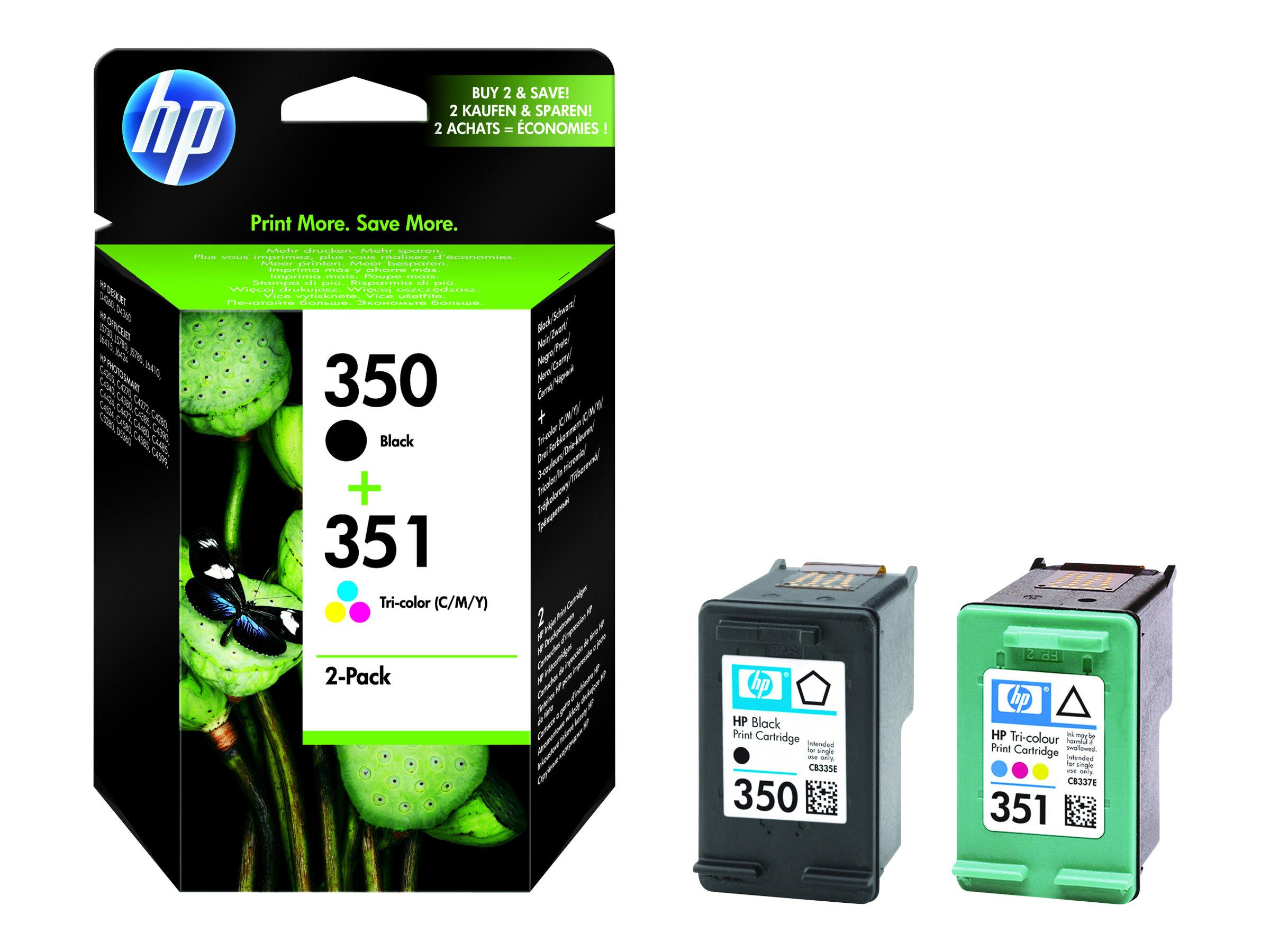 HP 350/351 - noir, couleur (cyan, magenta, jaune) - originale - cartouche d'encre