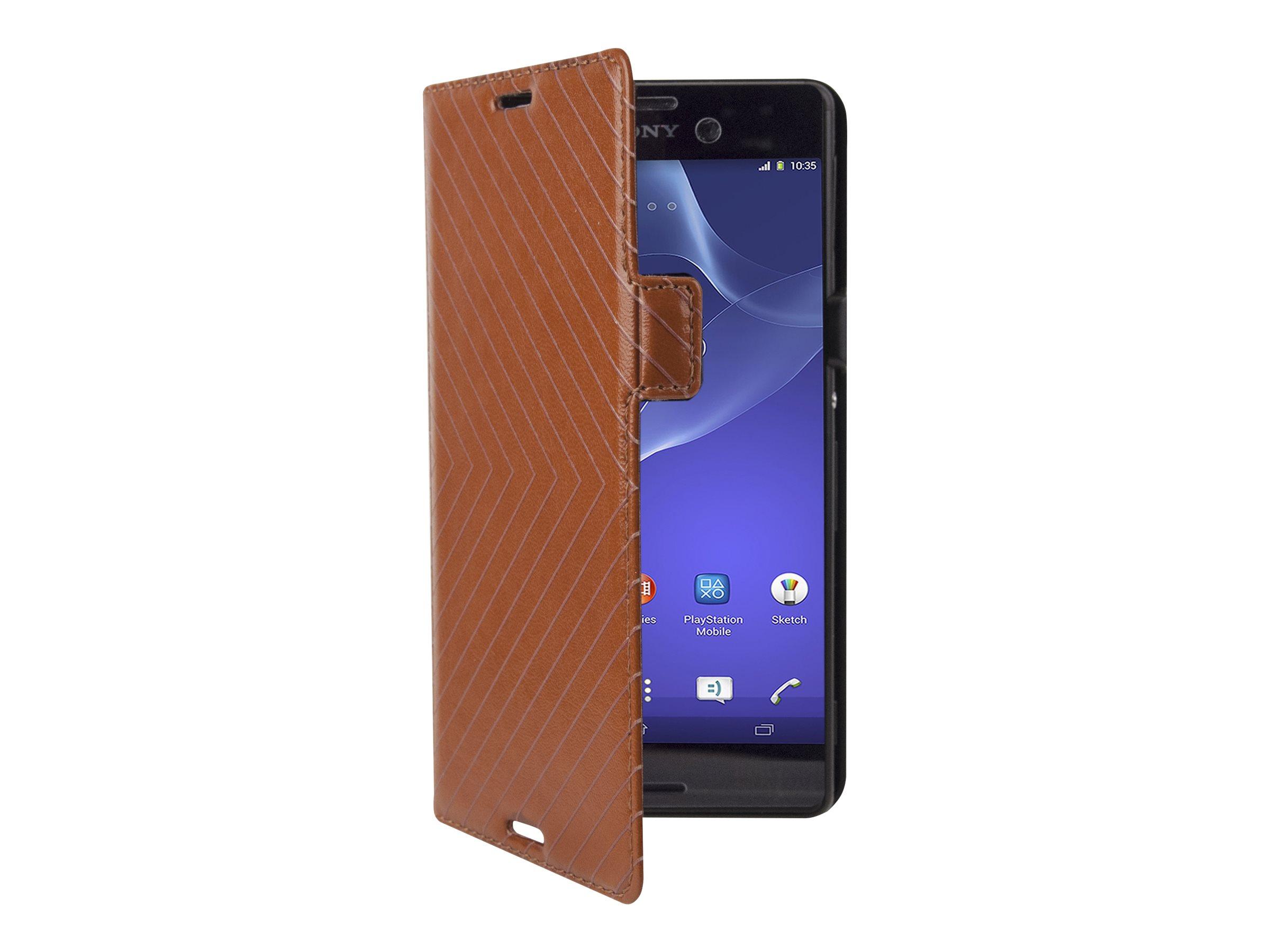 Muvit - Protection à rabat pour Sony XPERIA M4 Aqua, M4 Aqua Dual - brun