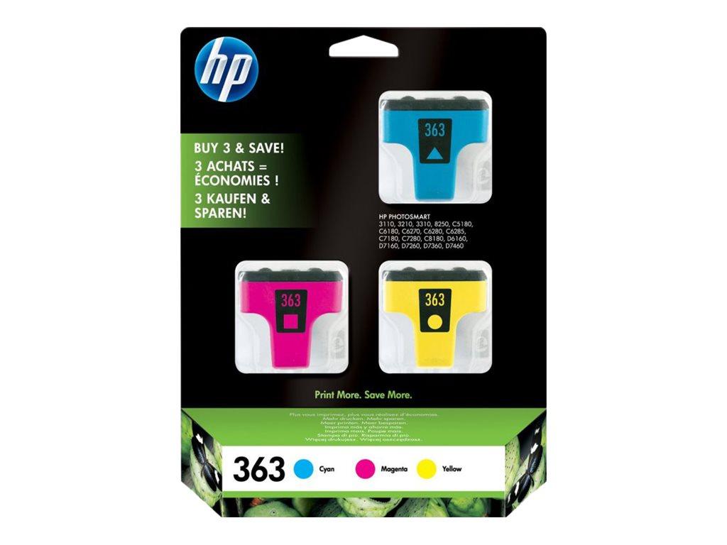 HP 363 - pack de 3 - jaune, cyan, magenta - original - cartouche d'encre
