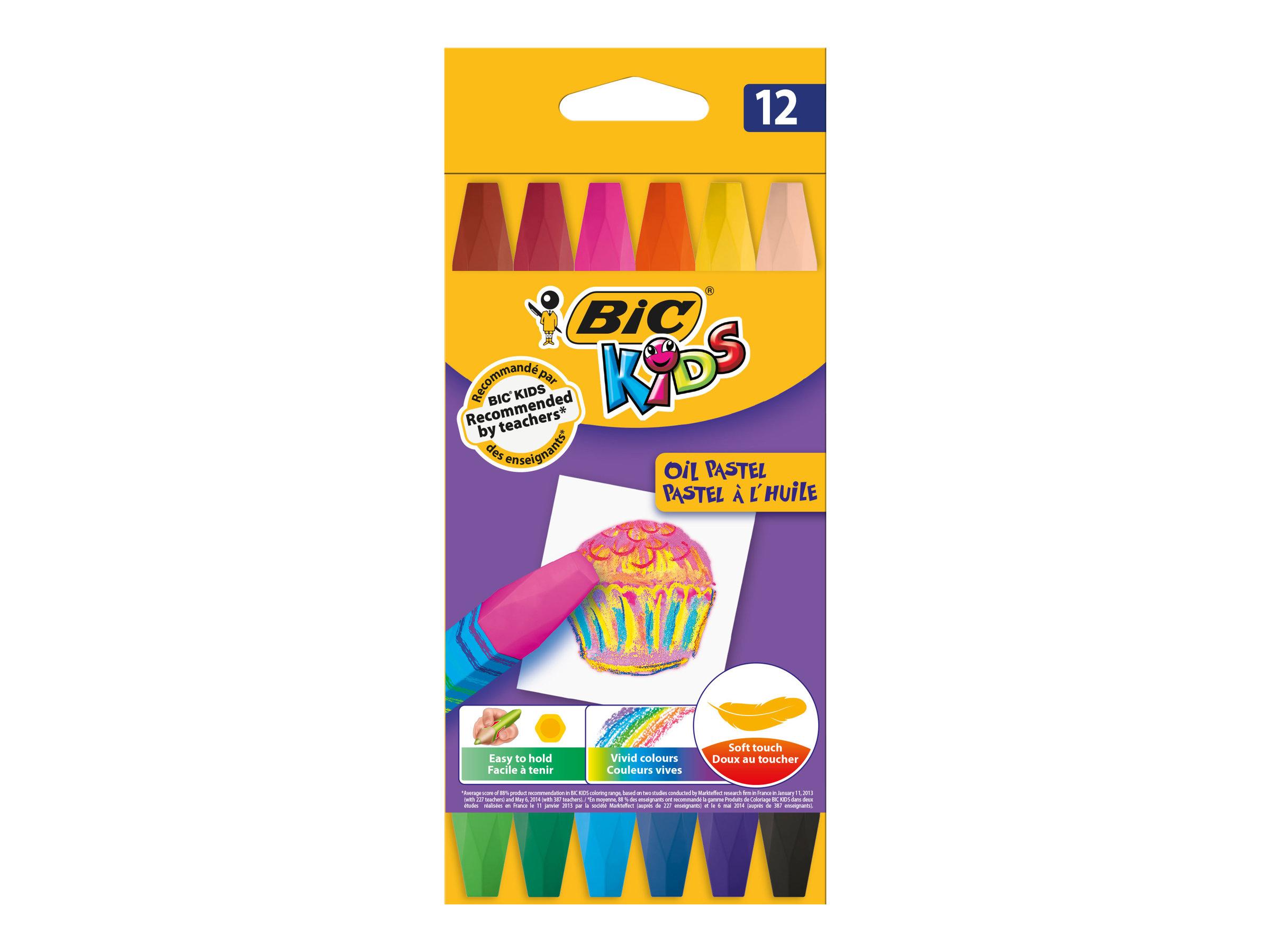 BIC KiDS - Crayon - 12 pastels à l'huile - couleurs assorties