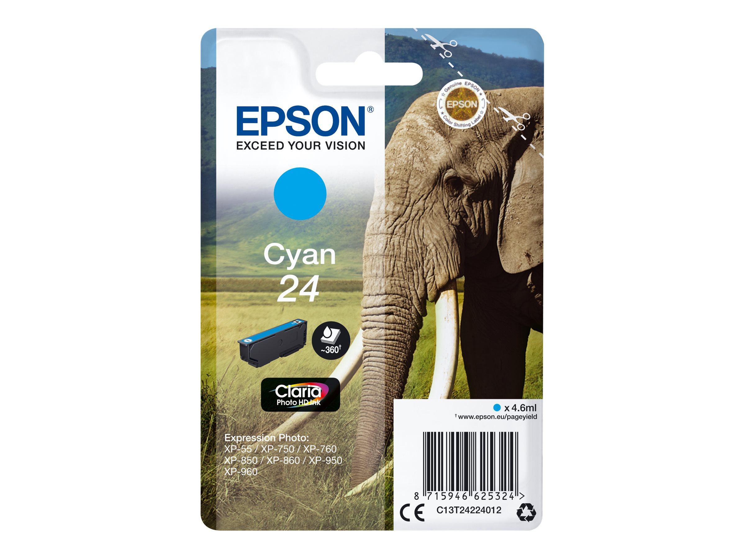 Epson T24 - éléphant - T2422 - 4.6 ml - cyan - originale - cartouche d'encre