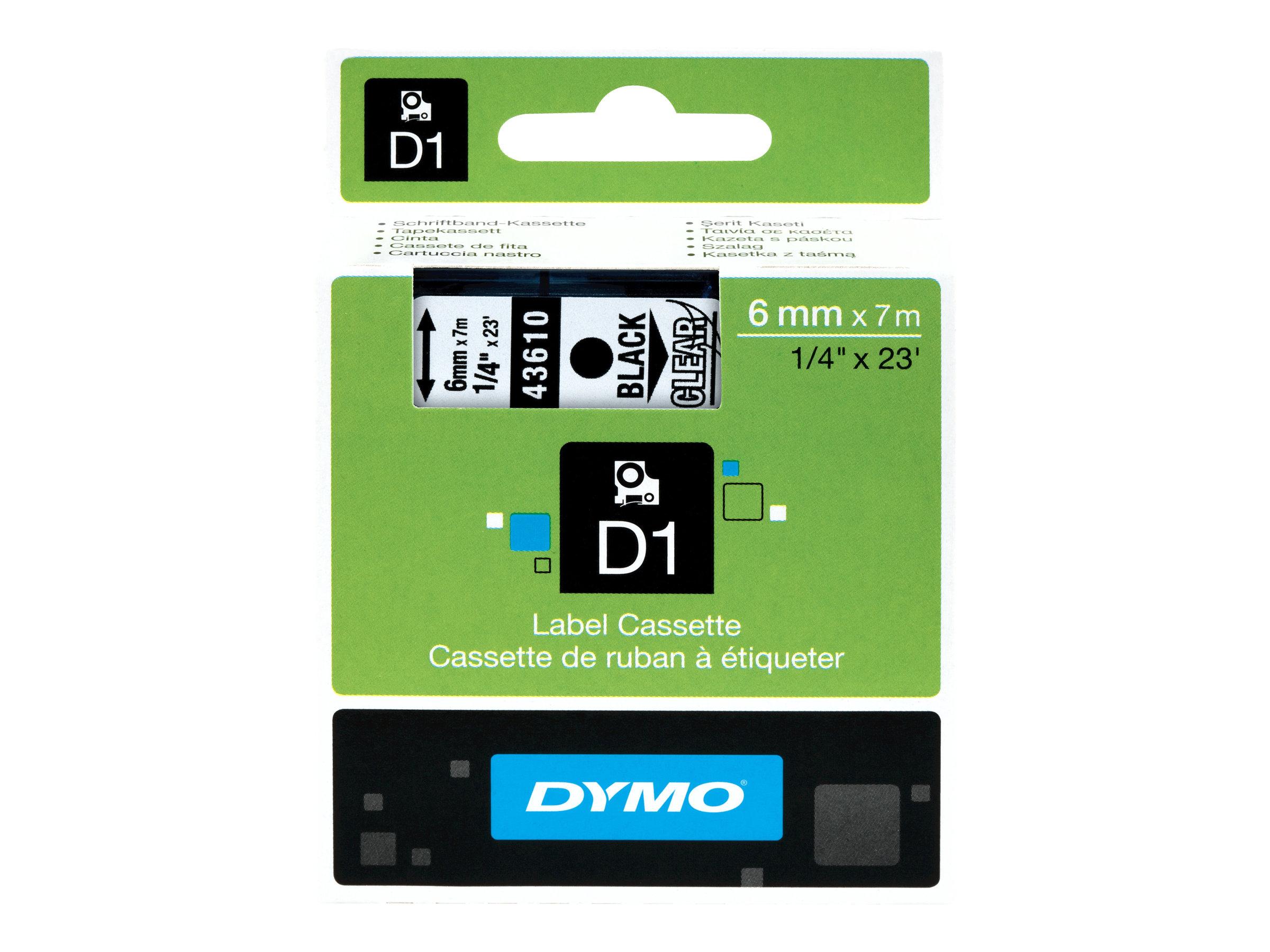 DYMO D1 - Ruban d'étiquettes brillant - 1 rouleau(x) - 6 mm - Différents coloris