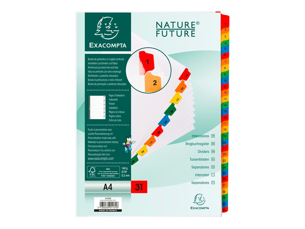Exacompta Nature Future - Intercalaire - 31 positions - 1-31 - A4