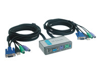 2-Port KVM+USB Switch, Built-in cables
