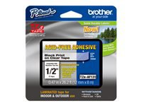 Brother TZe-AF131 - Adhesive - black on clear - Roll (0.47 in x 26.2 ft) 1 roll(s) laminated tape - for Brother PT-D210, D600, H110; P-Touch PT-D200, D450, D800, E550, H110, P300, P900, P950