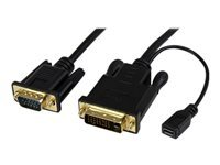 StarTech.com Cable adaptateur DVI vers VGA de 3m - Convertisseur actif DVI-D vers VGA HD15 - M/M - 1920x1200 - Noir
