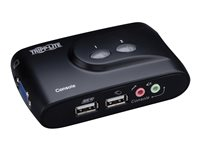 Tripp Lite 2-Port Desktop Compact USB KVM Switch with Audio & Cable Kit