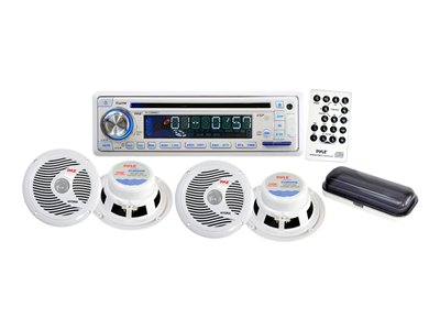 "PYLE PLCD8MRKT - Marine - CD receiver - in-dash - Full-DIN - 50 Watts x 4 - with four 6.5"" waterproof speakers"