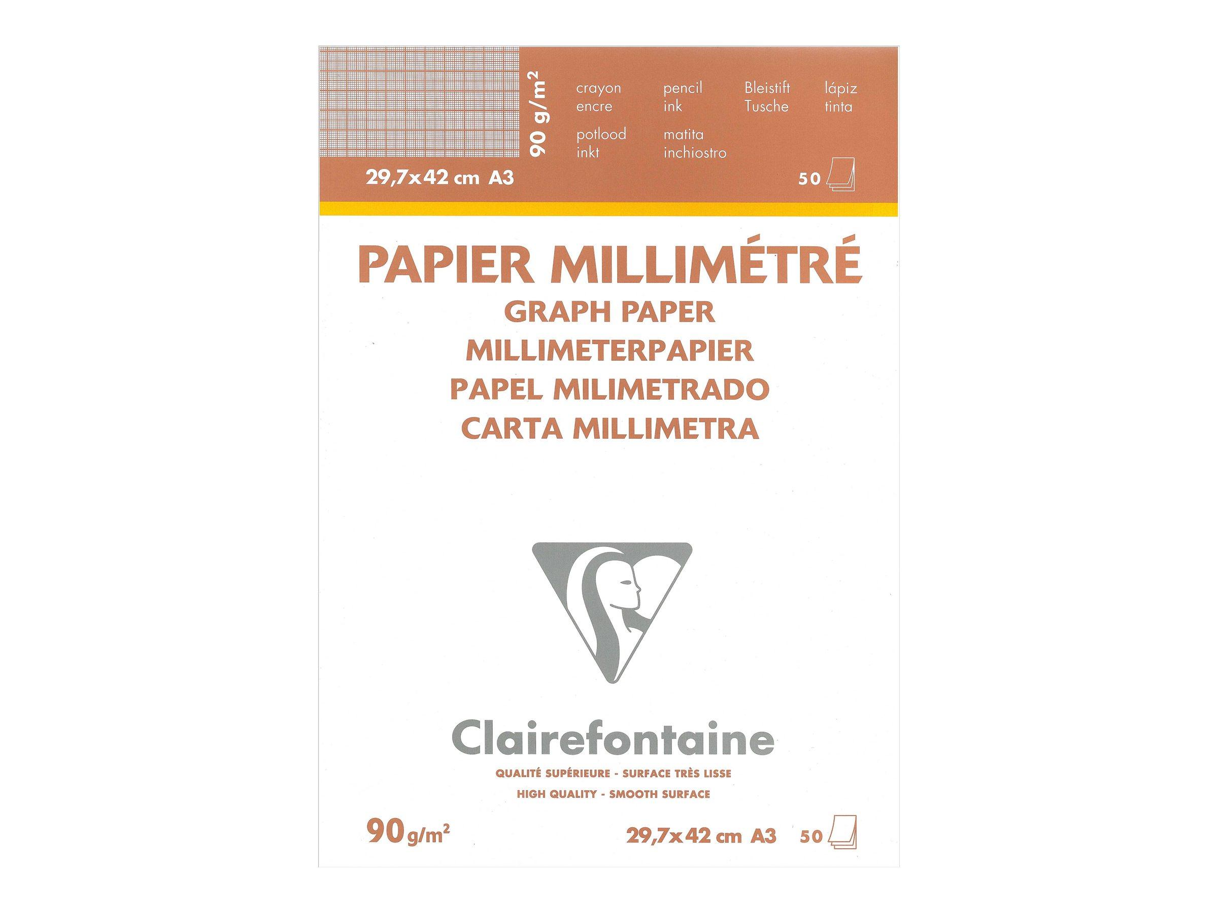 Clairefontaine - Papier millimétré - A3 - 50 feuilles - blanc - carré