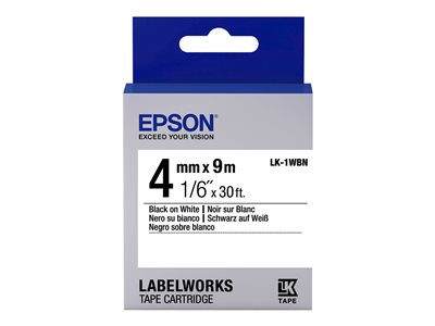 Epson LabelWorks LK-1WBN - Černá na bílé - Role (0,4 cm x 9 m) 1 role páska nálepek - pro LabelWorks LW-1000, LW-300, LW-400, LW-600, LW-700, LW-900, LW-K400, LW-Z700, LW-Z900