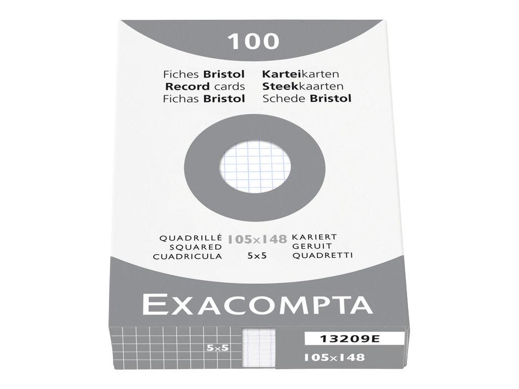 Exacompta - Fiches Bristol - A6 - Blanc - Quadrillé