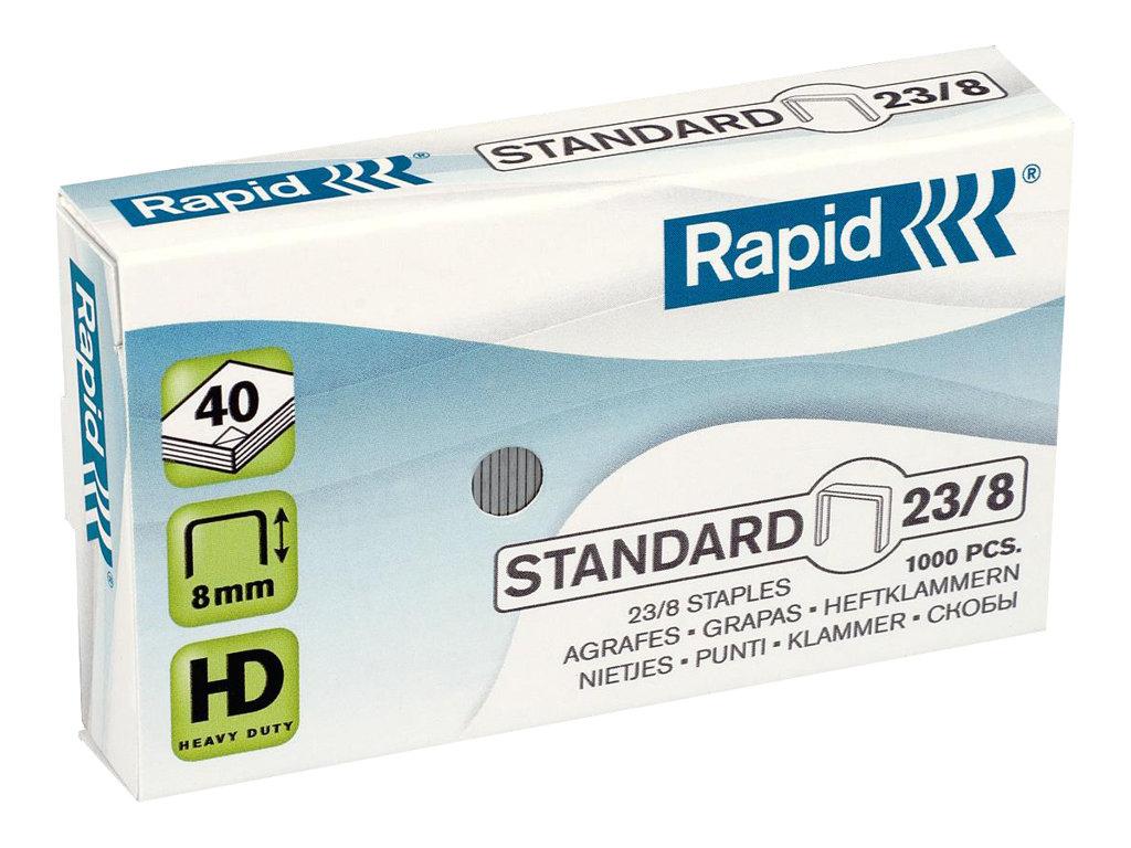 Rapid Standard - 1000 Agrafes - 23/8 - 8 mm - acier galvanisé
