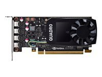 NVIDIA Quadro P1000 - Graphics card - Quadro P1000 - 4 GB GDDR5 - PCIe 3.0 x16 low profile - 4 x Mini DisplayPort - for Workstation Z2 G4 (MT, SFF), Z240 (SFF, tower), Z4 G4, Z440, Z6 G4, Z8 G4