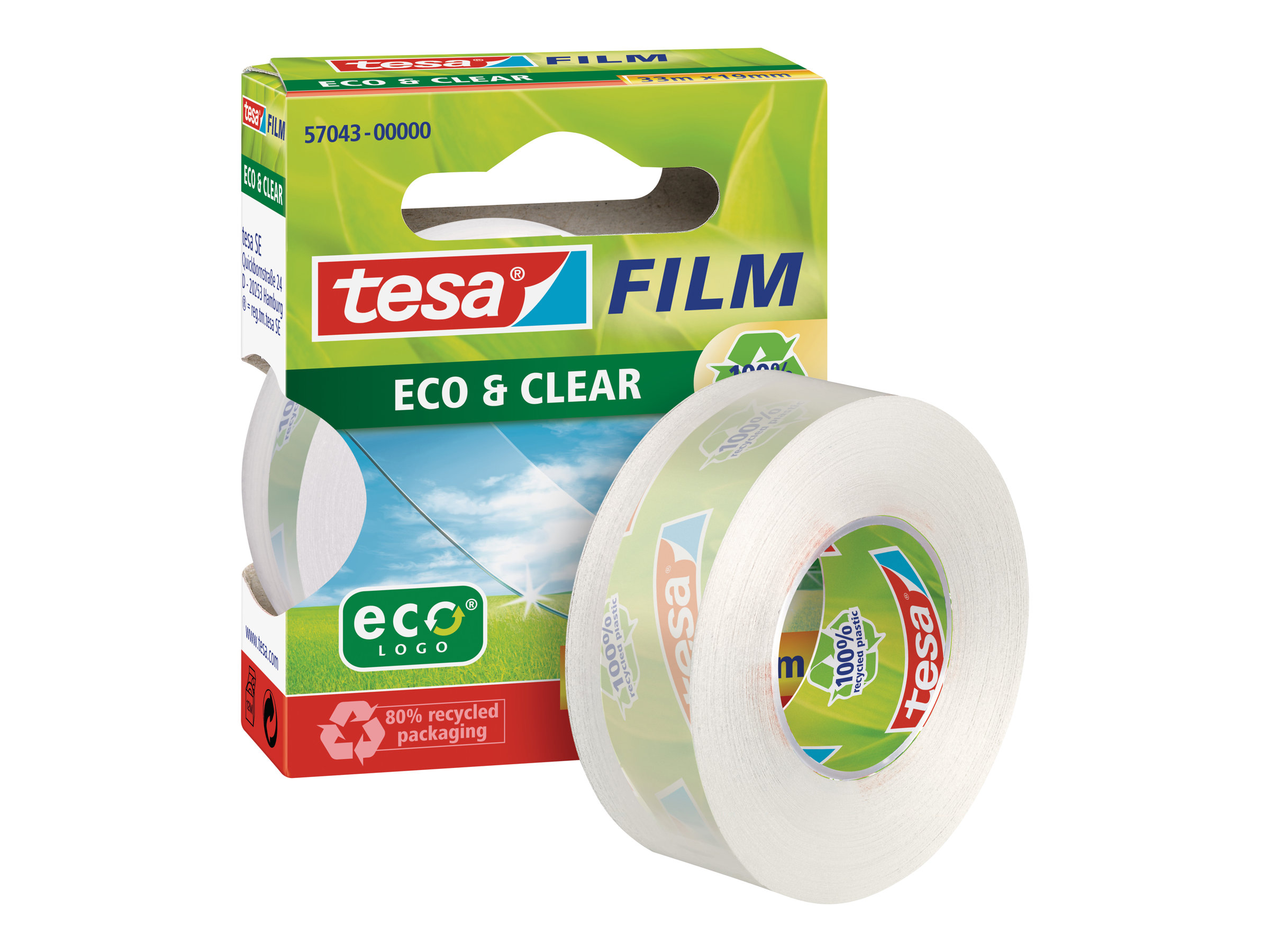 Tesafilm Eco & Clear - Adhésif de bureau - 19 mm x 33 m - transparent