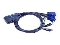 ATEN, 2-port KVM USB mini CS-62US, 0,9m kabely do 2 PC - 1 VGA +