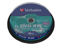 Verbatim DataLifePlus 10 x DVD-RW 4.7 GB 4x sølvmatteret spindle