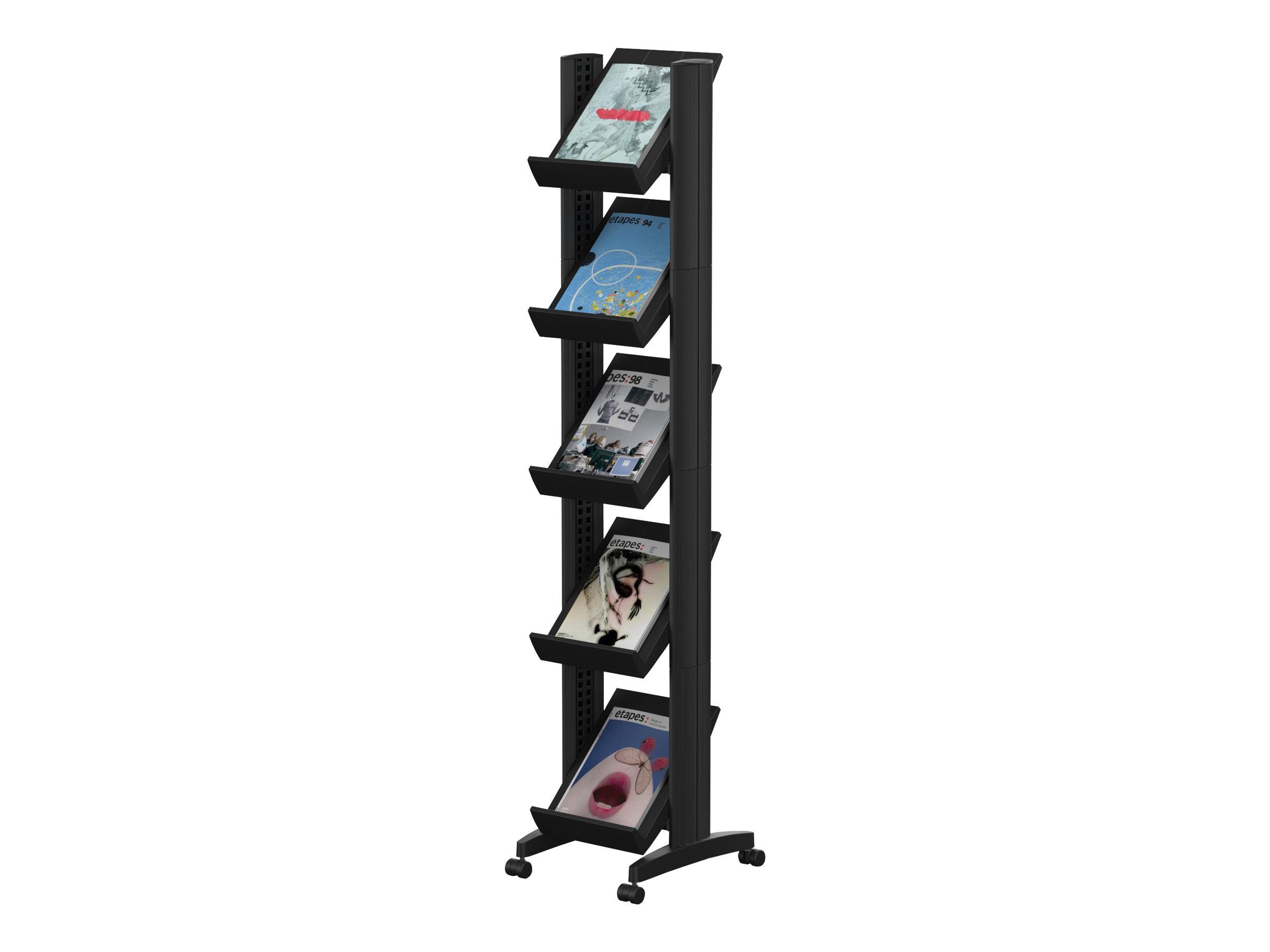 Paperflow easyDisplays - Présentoir mobile corner - 5 pochettes - pour 24 x 32 cm - noir