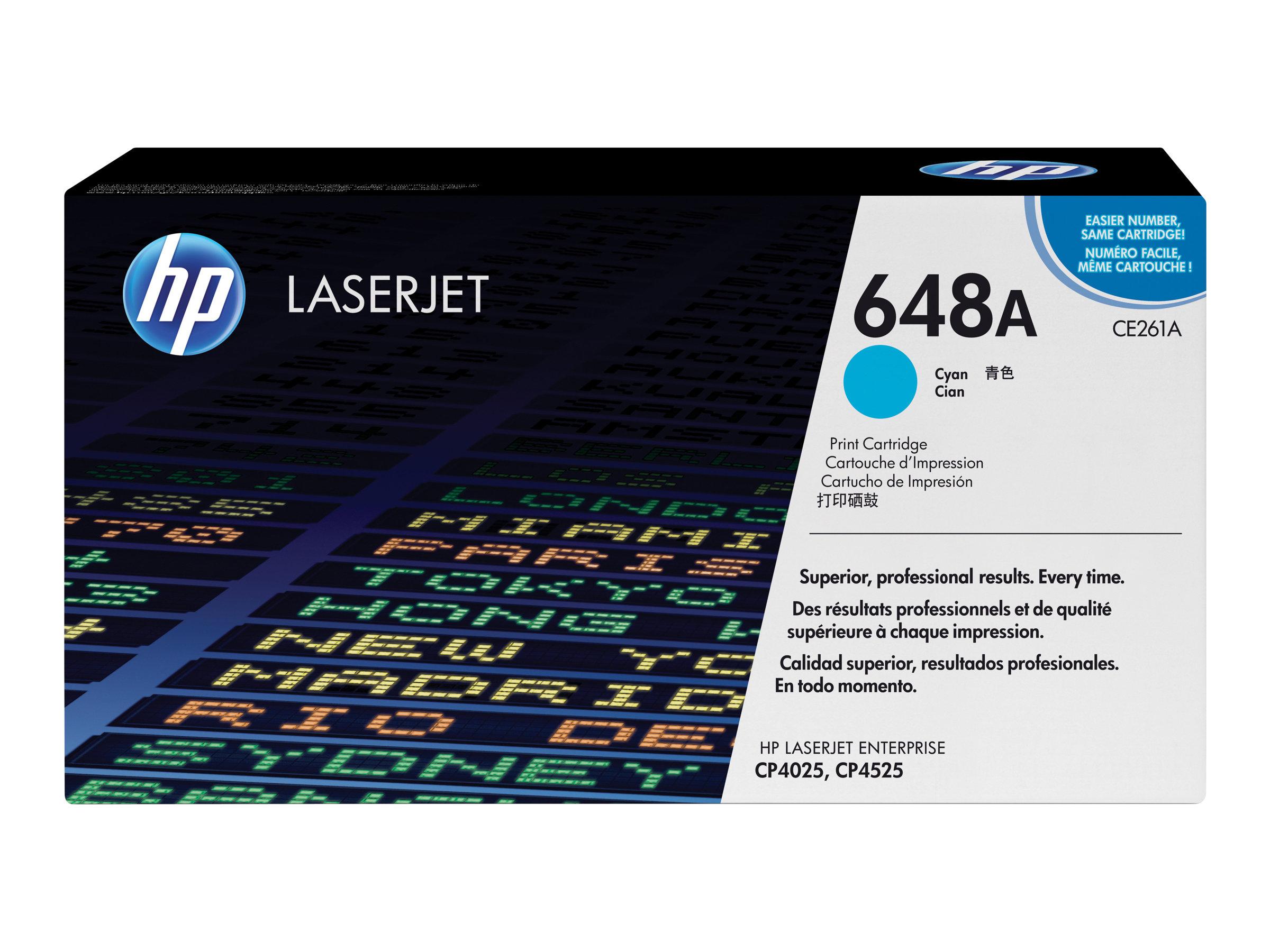 HP 648A - cyan - originale - LaserJet - cartouche de toner (CE261A)