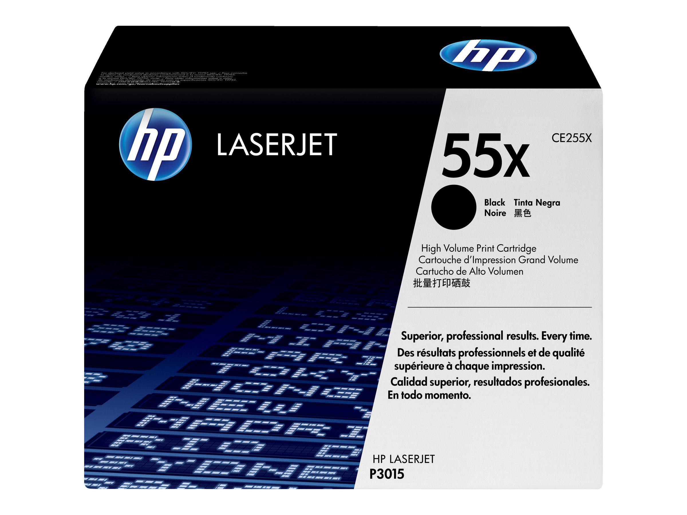 HP 55X - à rendement élevé - noir - originale - LaserJet - cartouche de toner (CE255X)