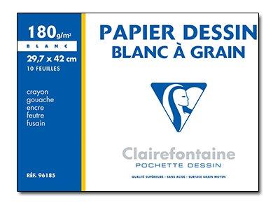 Clairefontaine - Papier à dessin - 29,7 x 42 cm - 10 feuilles - blanc