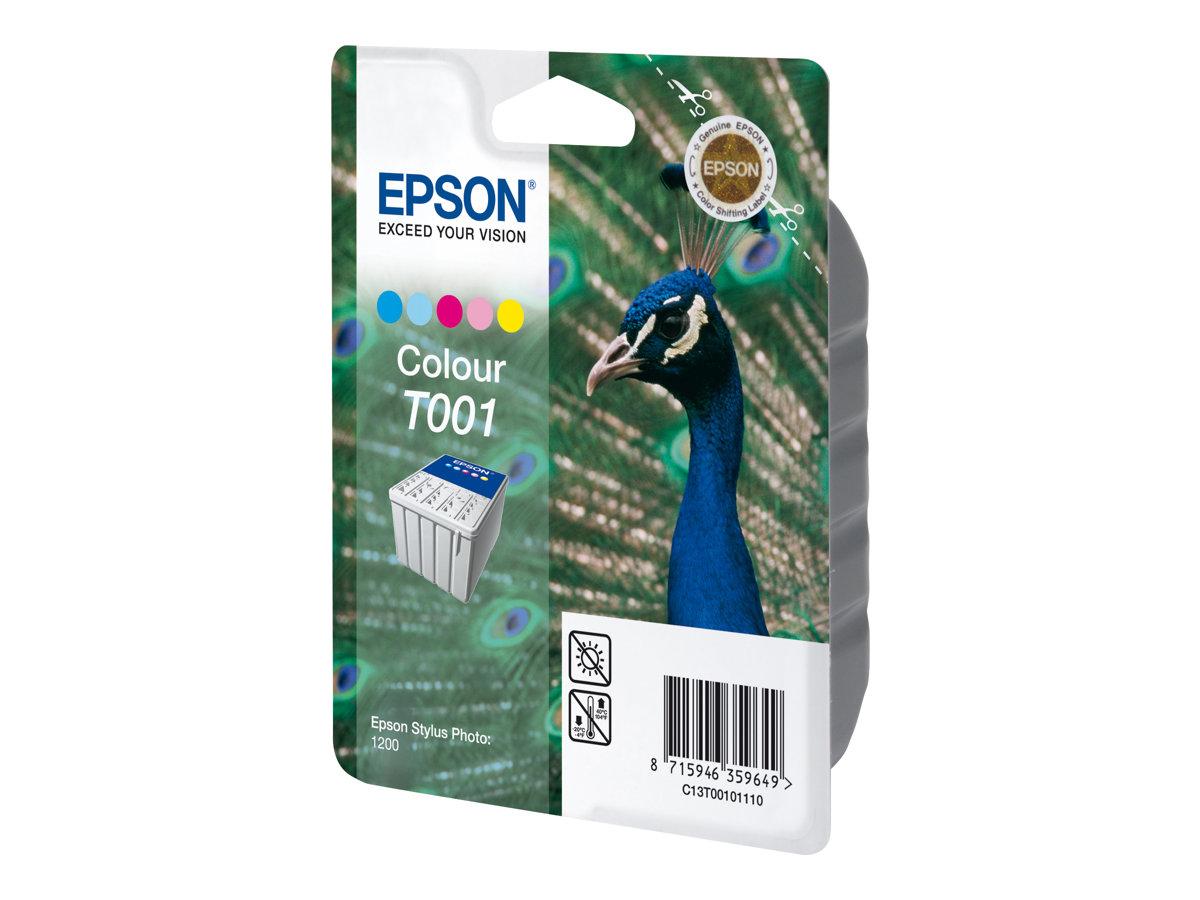 Epson T001 - paon - couleur (cyan, magenta, jaune, cyan clair, magenta clair) - originale - cartouche d'encre