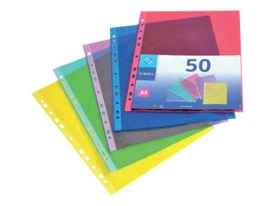 Viquel - 50 Pochettes perforées - A4 - 7/100 - couleurs assorties