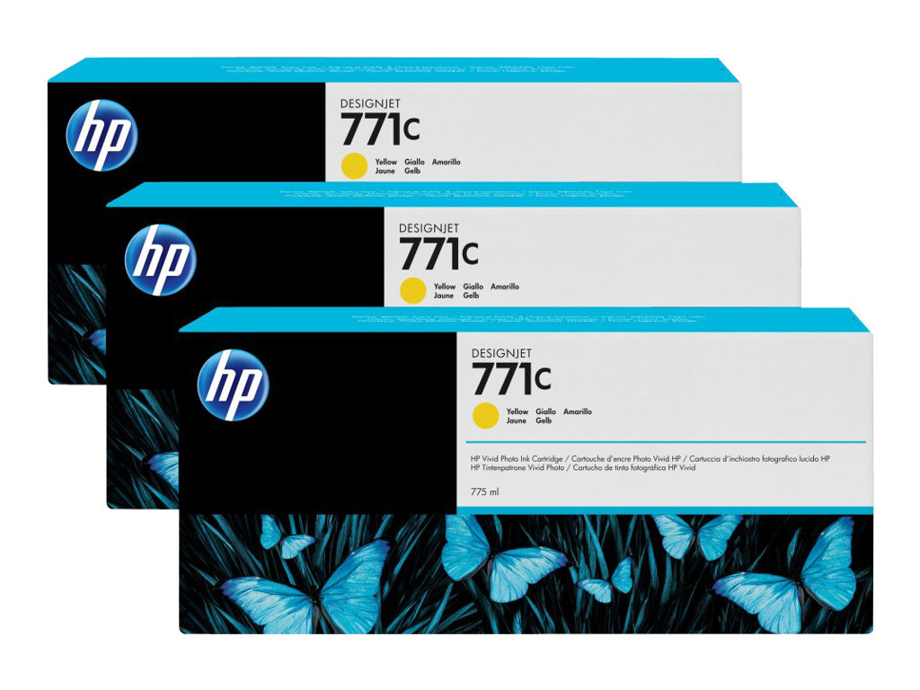 HP 771C - pack de 3 - jaune - originale - cartouche d'encre