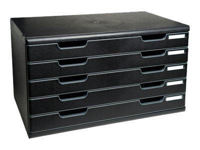 Exacompta MODULO Classic A3+ - Bloc de classement à tiroirs - 5 tiroirs - gris clair, noir éco