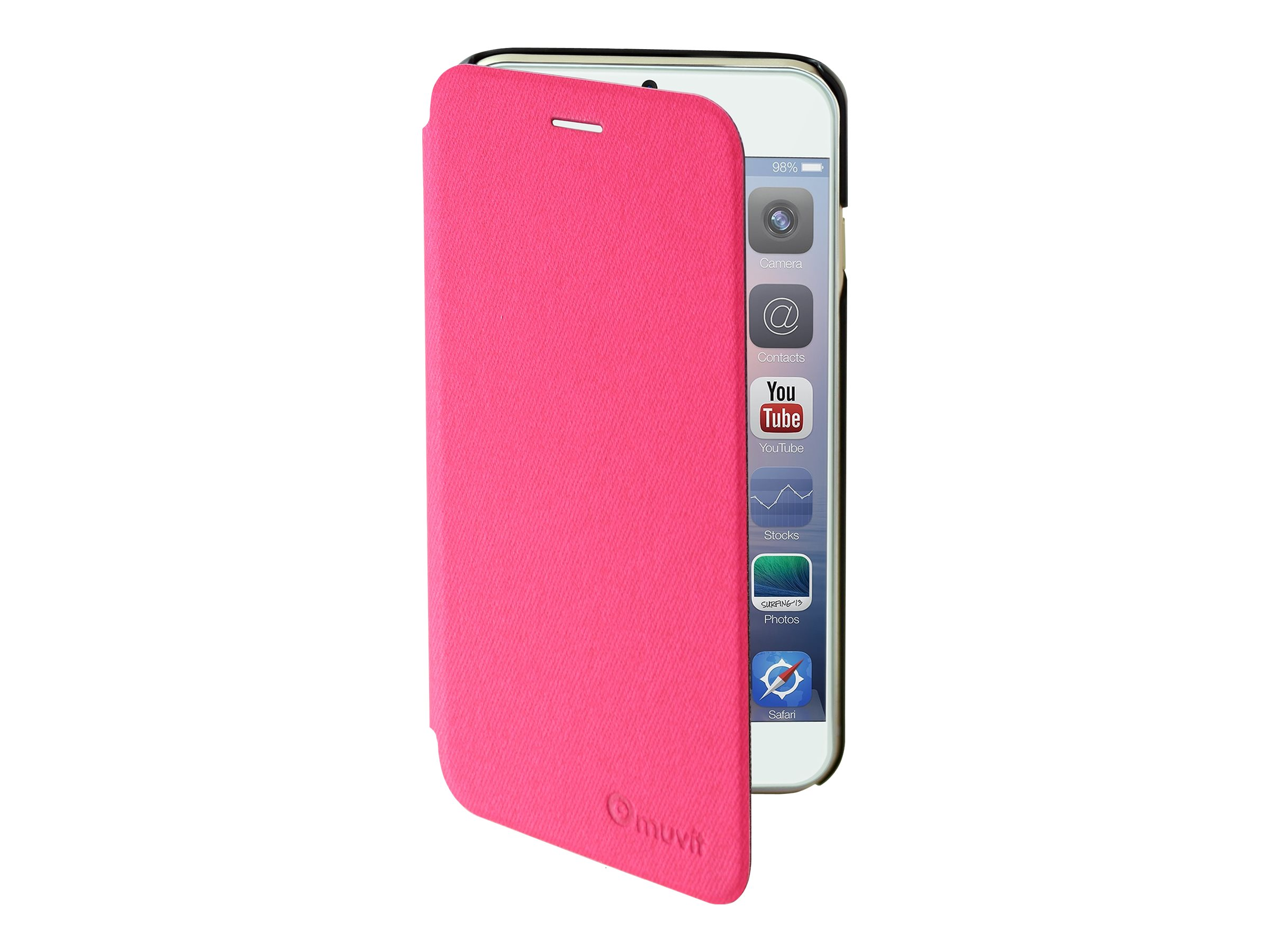 Muvit Easy Folio - Protection à rabat pour iPhone 6 Plus - rose, denim