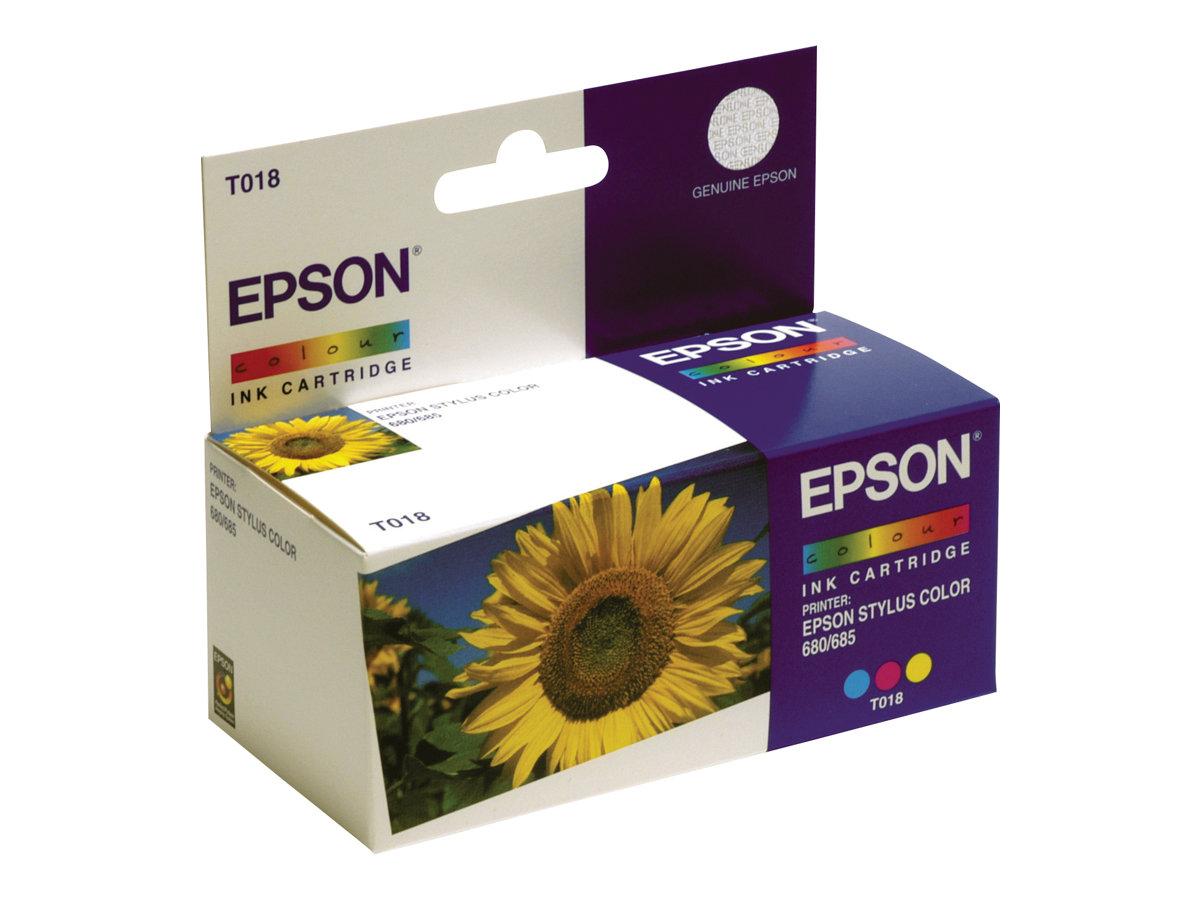 Epson T018 - couleur (cyan, magenta, jaune) - originale - cartouche d'encre