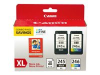 Canon PG-245 XL/CL-246XL Combo Pack with GP-502 - 2-pack - XL - color (cyan, magenta, yellow), pigmented black - original - ink cartridge / paper kit - for PIXMA MG2522, MG2525, MG3020, MG3029, MG6820, MX490, TR4520, TS202, TS302, TS3120, TS3320