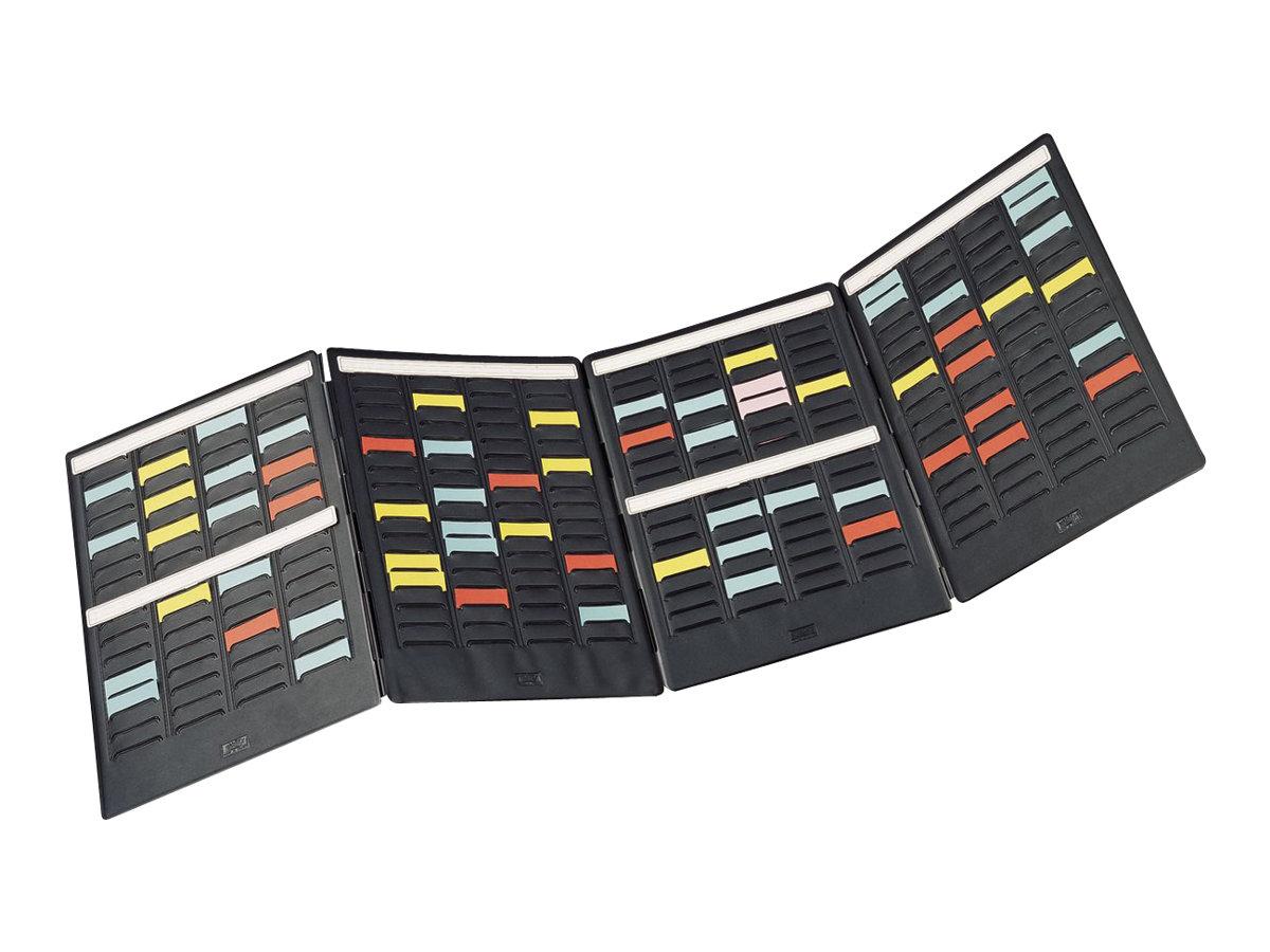 Nobo Mini - Planning à Fiches en T - 17 logements x 4 colonnes - Taille 1,5 - 1 volet - noir