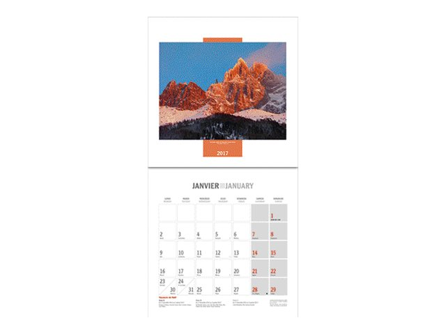 CBG Douce France - Calendrier illustré - 2017 - mois par page - 300 x 600 mm