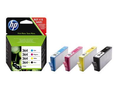 HP 364 - pack de 4 - noir, jaune, cyan, magenta - original - cartouche d'encre