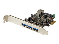 StarTech.com 4 Port PCI Express USB 3.0 Card - 3 External and 1 Internal - Native OS Support in Windows 8 and 7