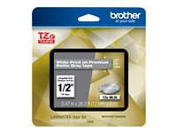 Brother TZe-ML35 - White print on premium matte gray - Roll (0.47 in x 26.2 ft) 1 roll(s) laminated tape - for PTD200, PTD210, PTD215E, PTD400, PTD400AD, PTD600, PTD600VP, PTH100, PTH110, PTP300BT, PTP700, PTP710BT