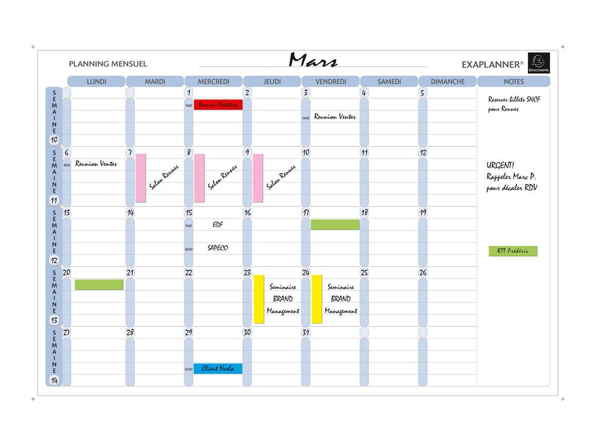 Exacompta - Planning effaçable à sec - mensuel - 900 x 590 mm - magnétique