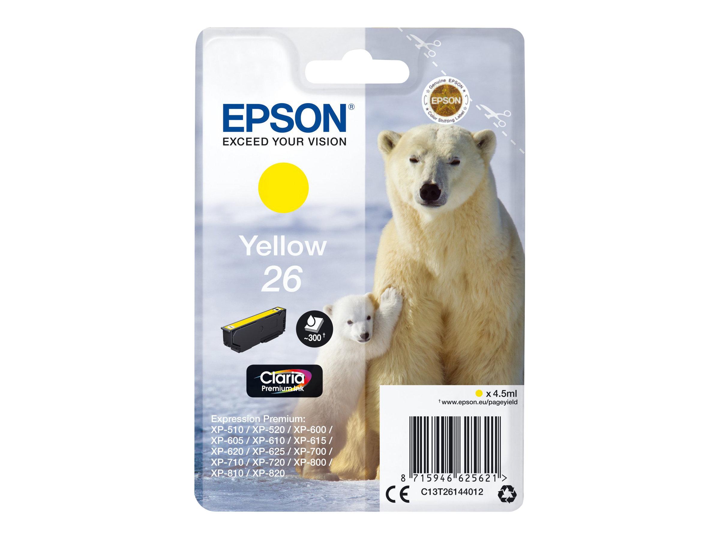 Epson T26 - ours - jaune - originale - cartouche d'encre