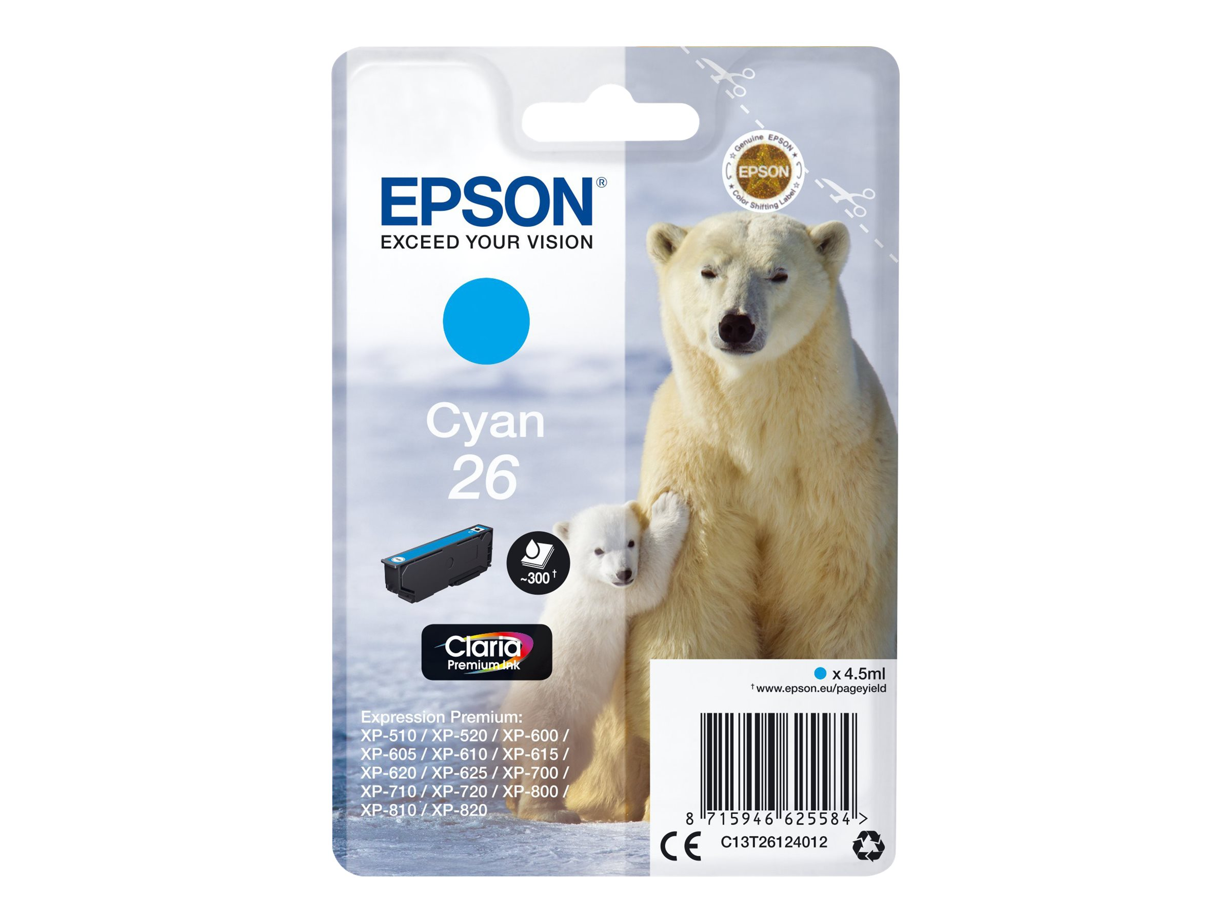 Epson T26 - ours - cyan - originale - cartouche d'encre