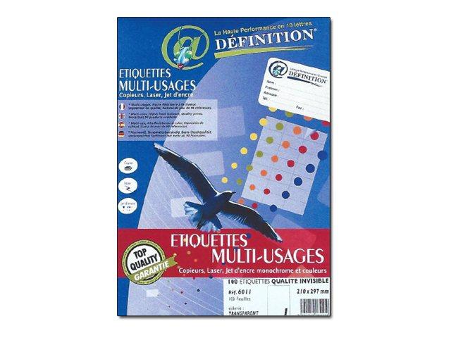 QRT Graphique ETIQUETTES Multi-usages Définition - Étiquettes adhésives - invisible - 210 x 297 mm 100 étiquette(s)