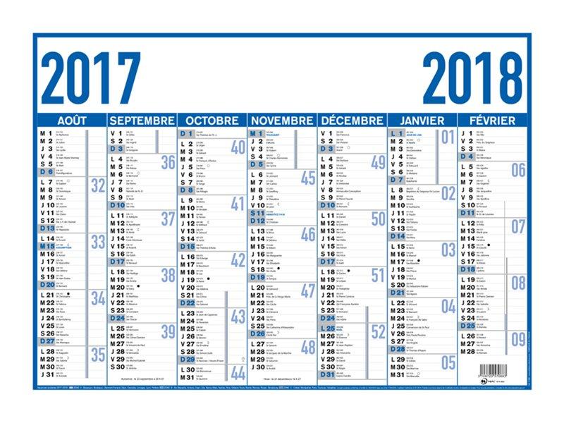 Oberthur arc en ciel classique bleu calendrier for Planning mural 2017