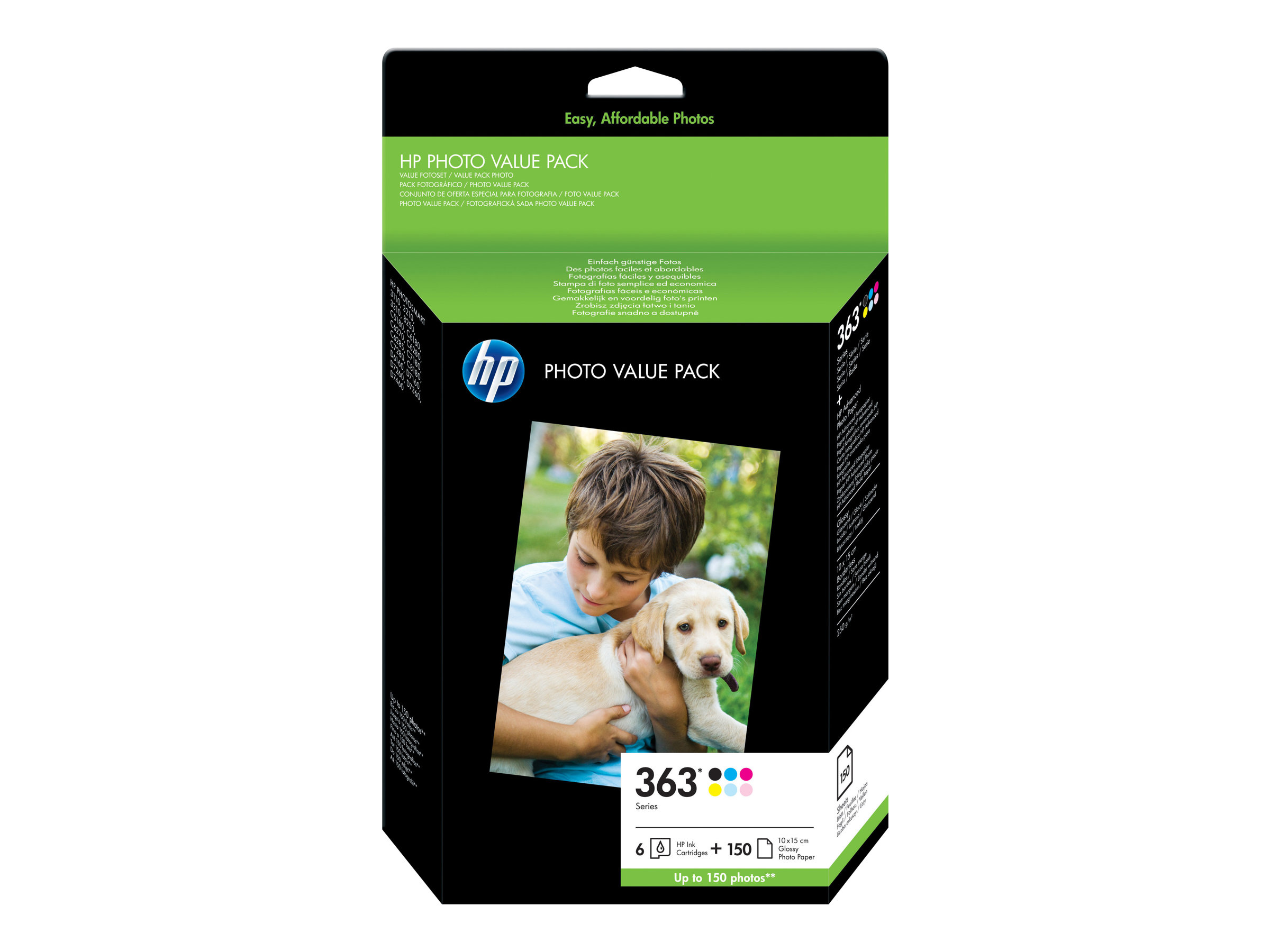 HP 363 Series Photo Value Pack - pack de 6 - noir, jaune, cyan, magenta, magenta clair, cyan clair - cartouche imprimante/kit papier