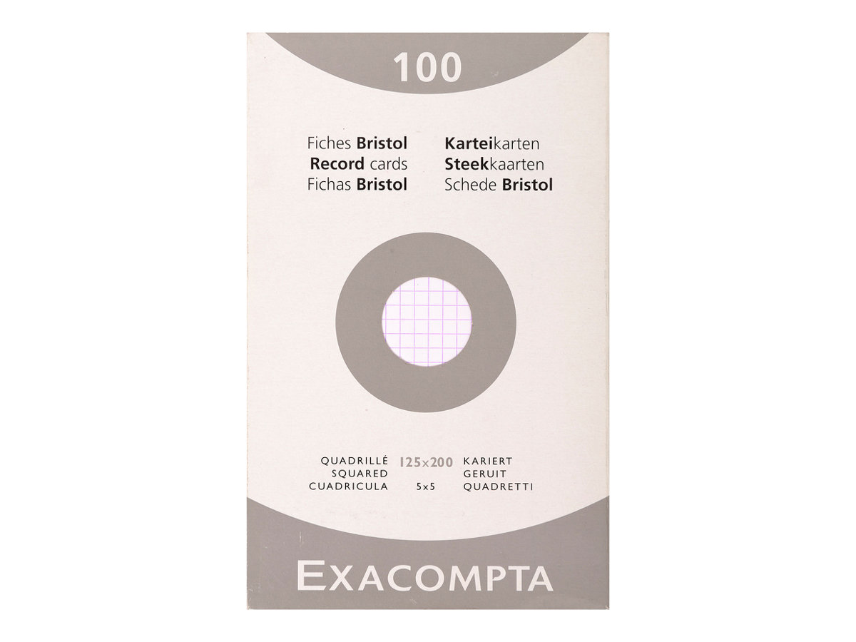 Exacompta - 100 Fiches bristol - 125 x 200 mm - blanc - petits carreaux