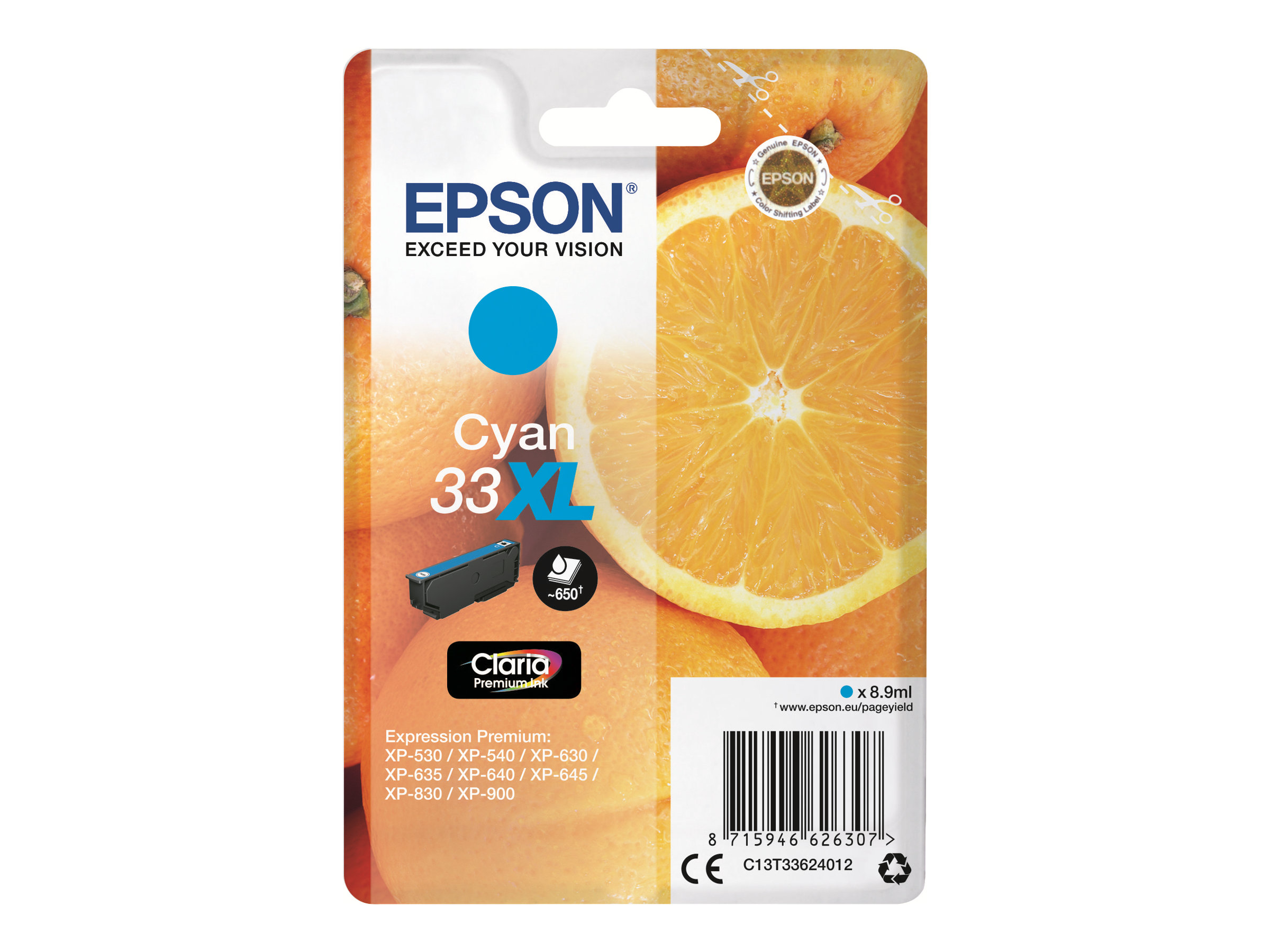 Epson T33XL - oranges - taille XL - cyan - originale - cartouche d'encre